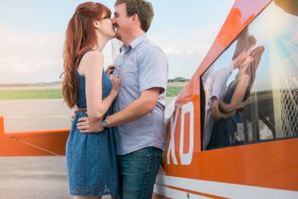 Denver engagement photographer, plane, dog, Centennial